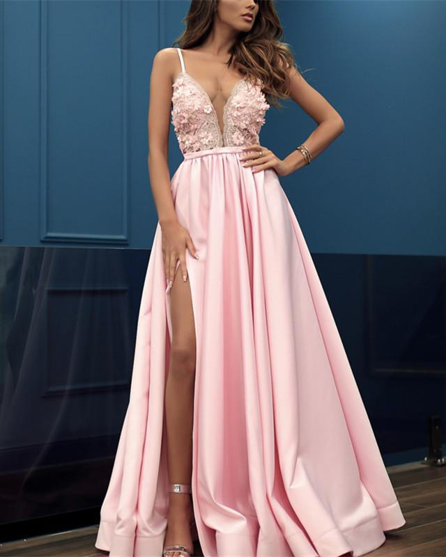 2019-Prom-Dresses-Pink-Evening-Gowns-Satin-Long-Sexy