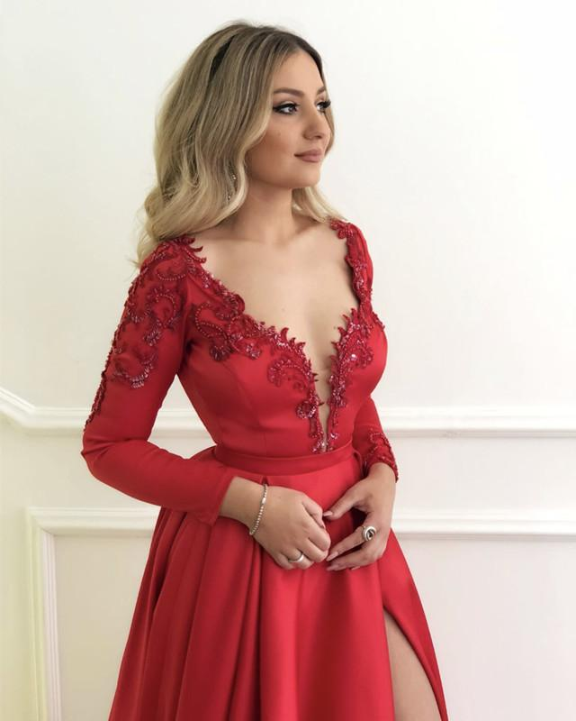 2019-Prom-Dresses-Long-Sleeves-Evening-Gowns-Red