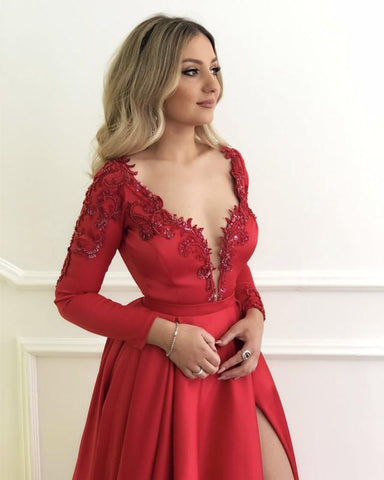 Image of 2019-Prom-Dresses-Long-Sleeves-Evening-Gowns-Red