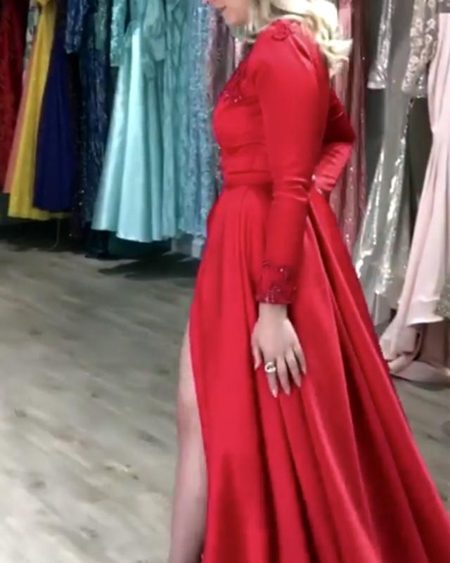 Red-Formal-Dresses-Long-Leg-Slit-Prom-Gowns