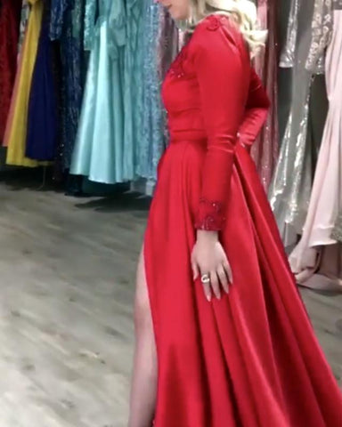 Image of Red-Formal-Dresses-Long-Leg-Slit-Prom-Gowns