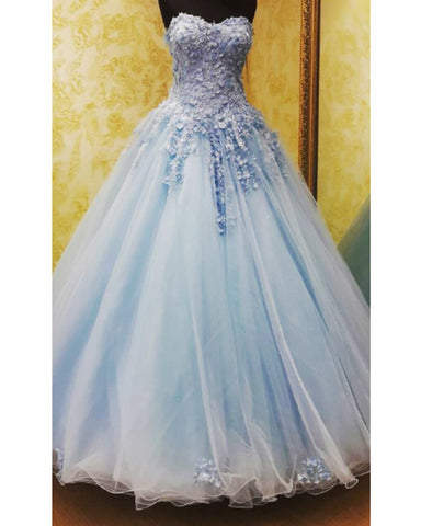 Image of Fantastic Lace Flowers Beaded Sweetheart Tulle Ball Gowns Quinceanera Dresses