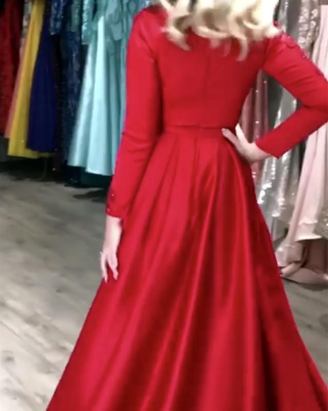 Satin-Evening-Gowns-Long-Sleeves-Prom-Dress-Leg-Split