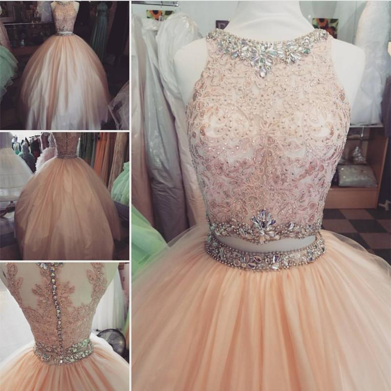 9da4229743 Elegant Lace Crop Top Pink Tulle Ball Gown Quinceanera Dresses Two ...