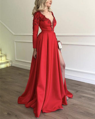 Image of Long-Red-Prom-Dresses-Satin-Evening-Gowns-Embroidery-Beaded