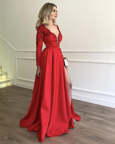 Image of Sexy-Leg-Slit-Satin-Evening-Dresses-Long-Sleeves-Prom-Gowns