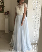 Load image into Gallery viewer, Silver Tulle Bow Back Wedding Dresses Lace Short Sleeves