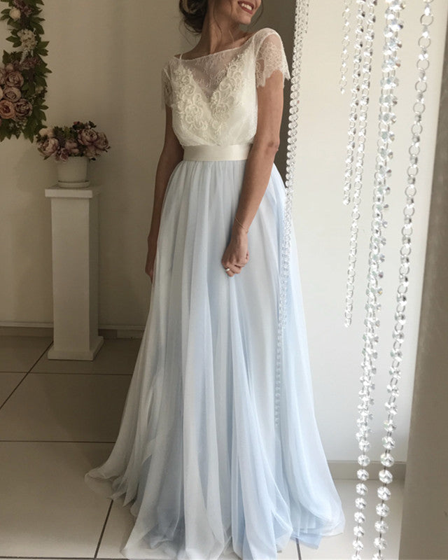 Silver Tulle Bow Back Wedding Dresses Lace Short Sleeves