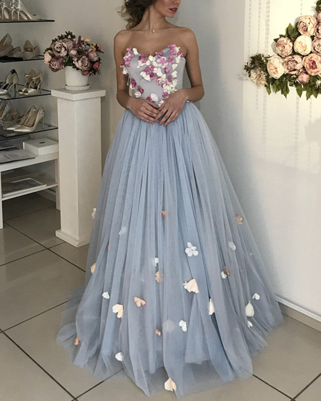 5dc282c737fe Lovely Floral Flowers Tulle Sweetheart Wedding Dresses 2019. Double tap to  zoom