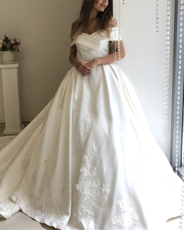 10d74f927 Off-The-Shoulder Ball Gown Satin Wedding Dresses Lace Embroidery. Double tap  to zoom