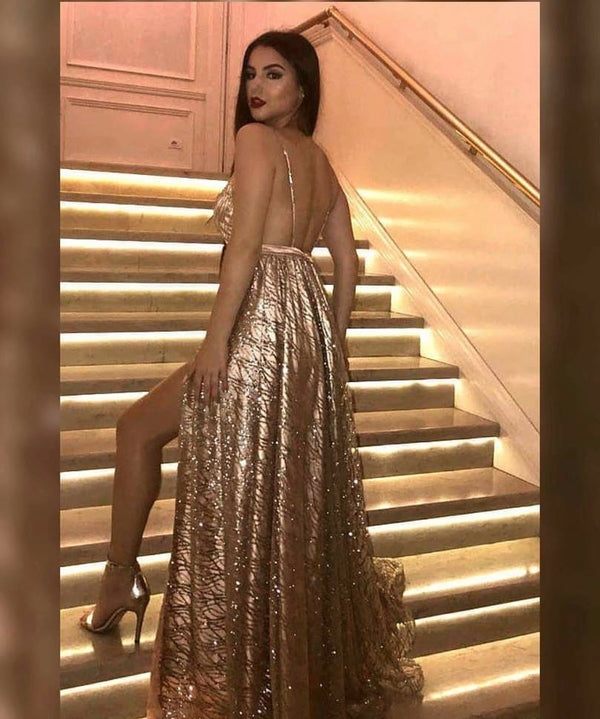 Long V-neck Gold Sequins Prom Evening Dresses 2019