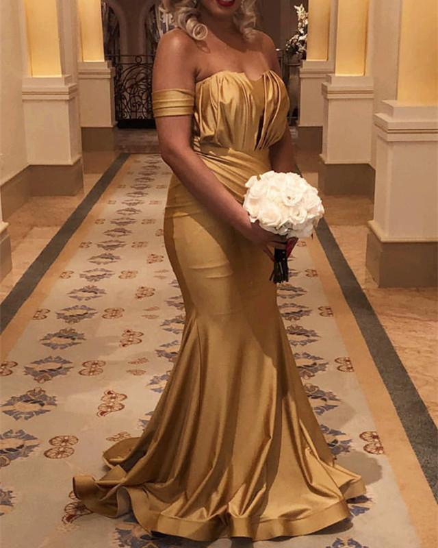 Long Gold Satin Off Shoulder Mermaid Bridesmaid Dresses