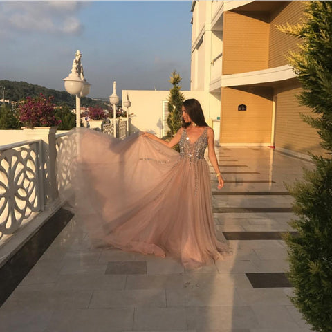 Image of Peach And Grey Tulle V Neck Prom Long Dresses With Sequins Beaded