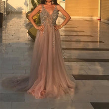 Load image into Gallery viewer, Peach And Grey Tulle V Neck Prom Long Dresses With Sequins Beaded
