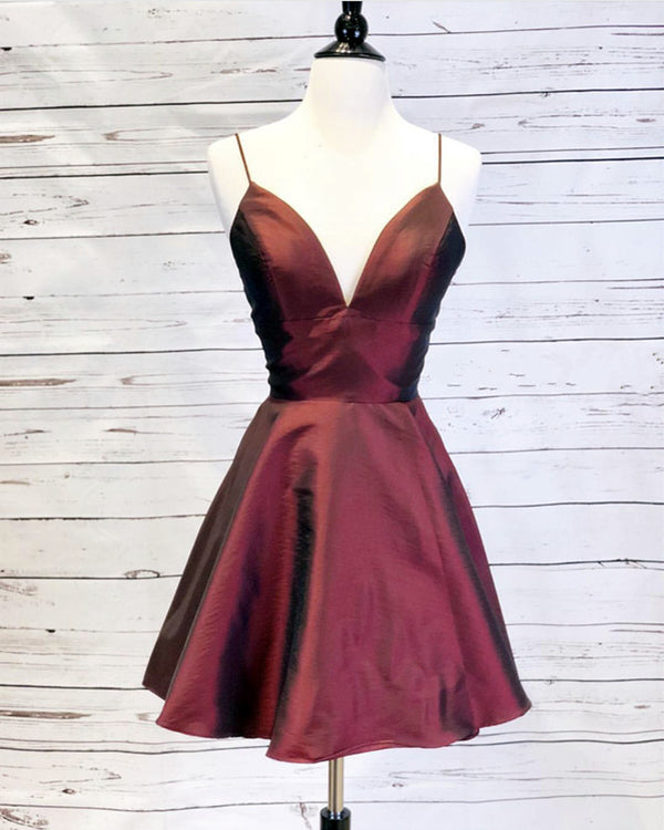 Short A-line V-neck Satin Homecoming Dresses