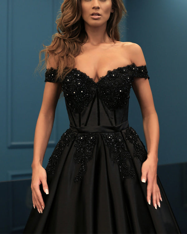 Elegant Lace Beaded Off Shoulder Satin Prom Dresses Ball Gowns