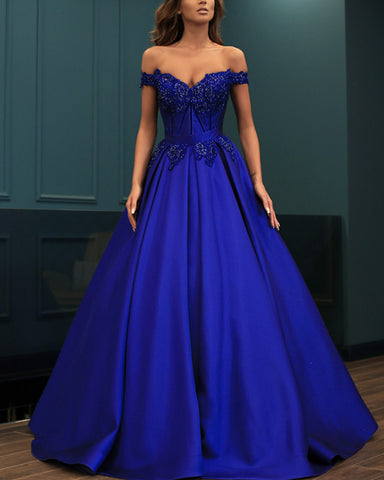 Image of Elegant Lace Beaded Off Shoulder Satin Prom Dresses Ball Gowns