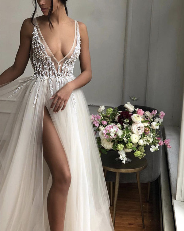 2019 Prom Dresses Long Tulle V-neck Evening Gowns Sequin Beaded