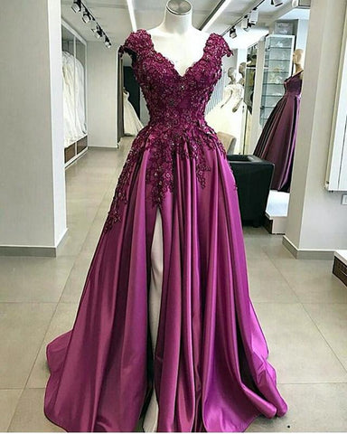 Image of Lace Flowers Beaded Cap Sleeves V-neck Prom Dresses Split Evening Gowns