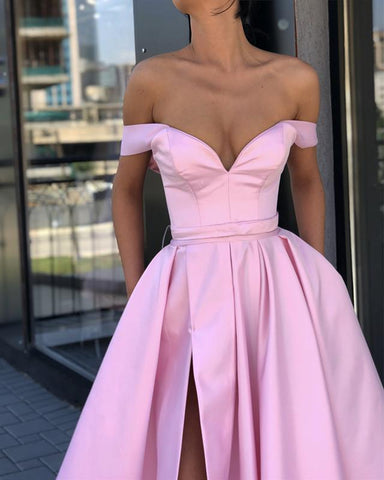 Image of Long Satin V-neck Evening Dresses Off-The-Shoulder Prom Gowns