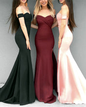 Afbeelding in Gallery-weergave laden, Mermaid V-neck Prom Dresses Leg Split Evening Gowns Off Shoulder