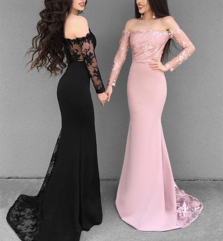 5d923a5c64fac 2019 Prom Dresses Off Shoulder Mermaid Evening Gowns Long Sleeves. Double  tap to zoom