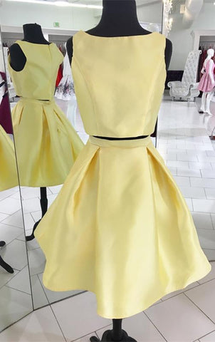 Image of Yellow-Homecoming-Dresses-2018-Satin-Prom-Short-Dresses