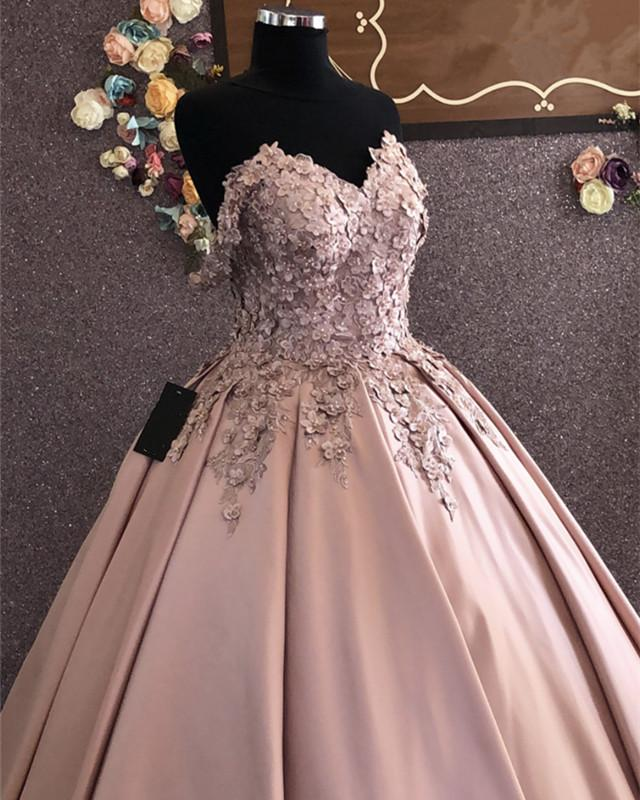 3D Lace Flowers Embroidery Sweetheart Satin Ballgown