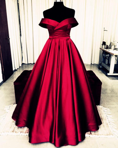 Image of Bow Back Prom Dresses Ball Gowns Off The Shoulder