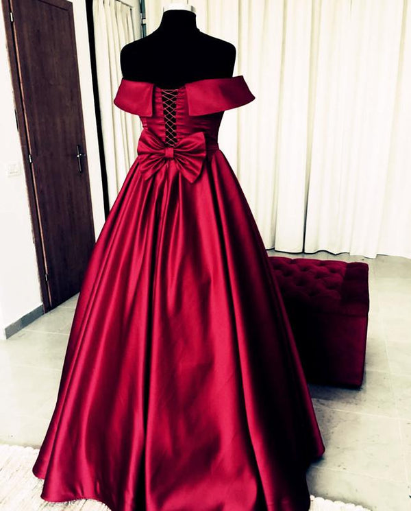 Bow Back Prom Dresses Ball Gowns Off The Shoulder