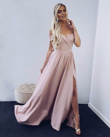 Image of Spaghetti Straps Off Shoulder Long Satin Prom Dresses Leg Split