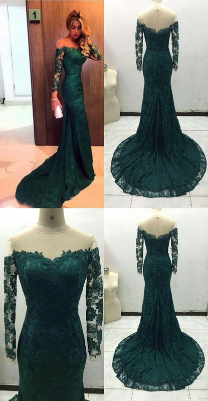 Sheer Neckline Long Sleeves Lace Prom Dresses Mermaid Evening Gowns