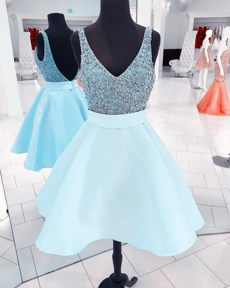 Sparkle Sequin Beaded V Neck Satin Homecoming Dresses Short Prom Gowns