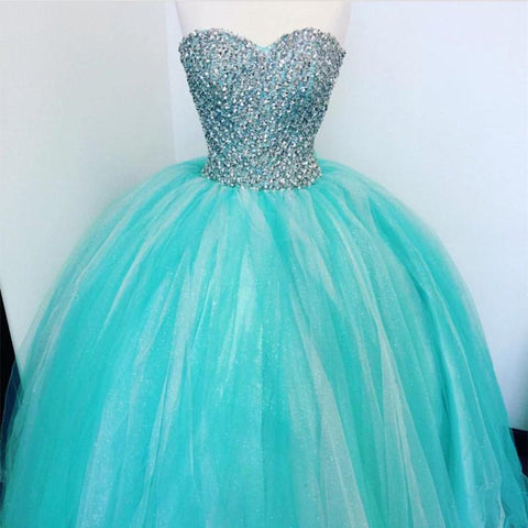 Image of Luxurious Crystal Beaded Sweetheart Turquoise Quinceanera Dresses 2018