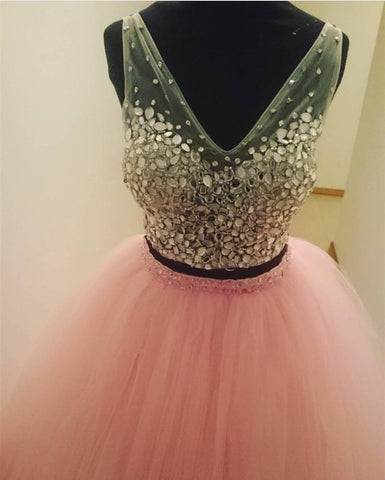 Image of Two Piece Quinceanera Dresses Ball Gowns Crystal Beaded V Neck