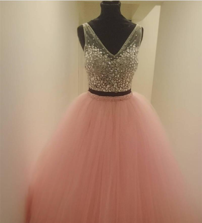Two Piece Quinceanera Dresses Ball Gowns Crystal Beaded V Neck