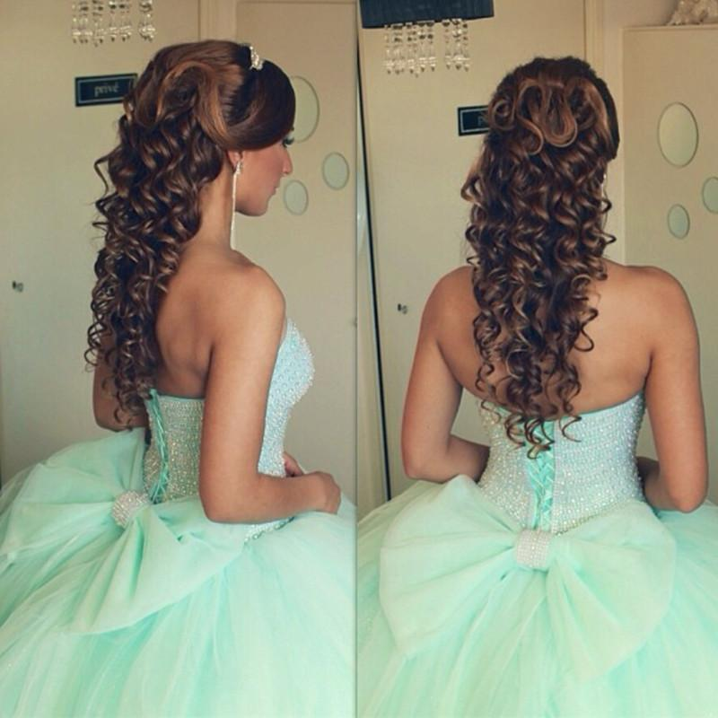 Beading Sweetheart Bow Back Mint Green Quinceanera Dresses Ball Gowns