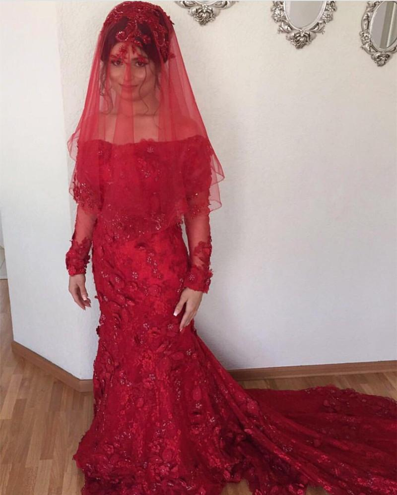 Off The Shoulder Long Sleeves Burgundy Lace Mermaid Wedding Dresses