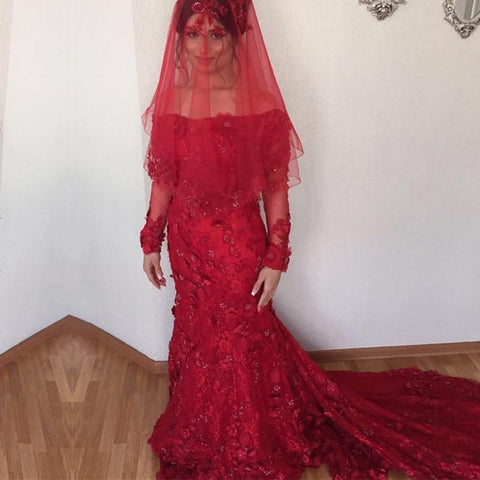 Image of Off The Shoulder Long Sleeves Burgundy Lace Mermaid Wedding Dresses