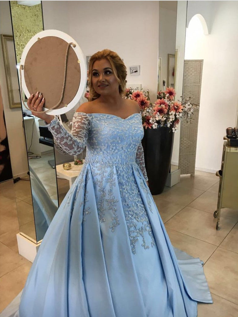 V Neck Off Shoulder Light Blue Satin Ball Gowns Evening Dress For Engagement Party