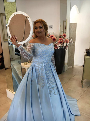 Image of V Neck Off Shoulder Light Blue Satin Ball Gowns Evening Dress For Engagement Party