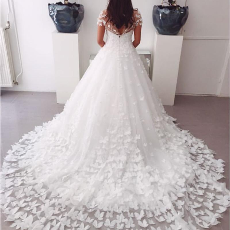 A-line Sweep Train Butterfly Wedding Dresses Lace Cap Sleeves