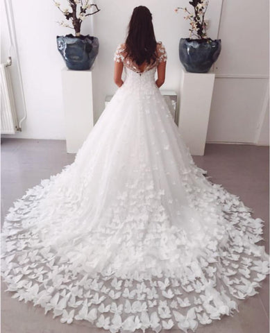 Image of A-line Sweep Train Butterfly Wedding Dresses Lace Cap Sleeves