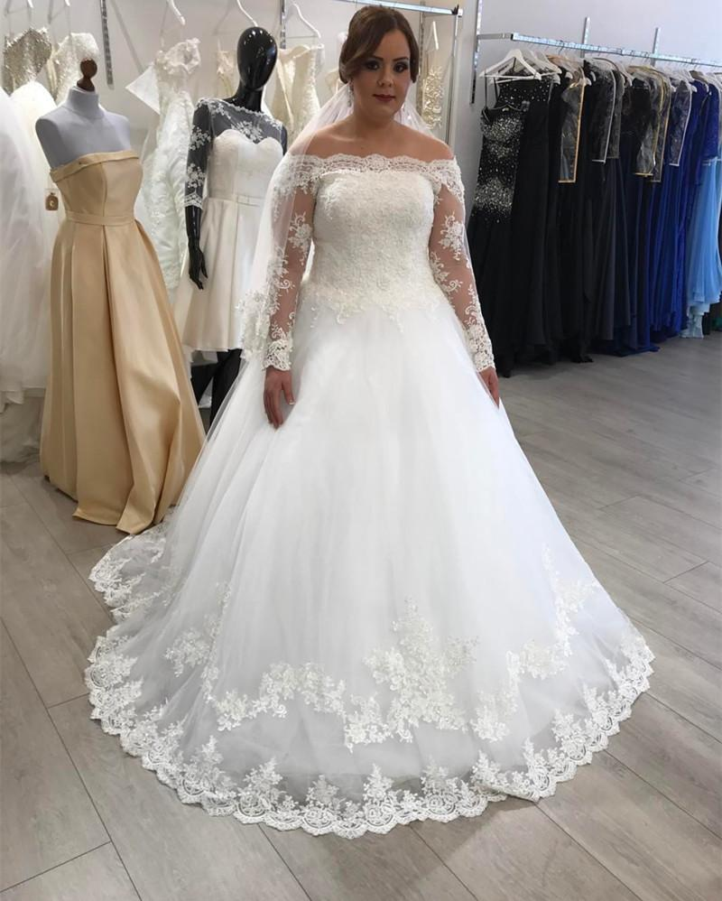 A-line Off The Shoulder Long Sleeves Lace Wedding Dresses Plus Size