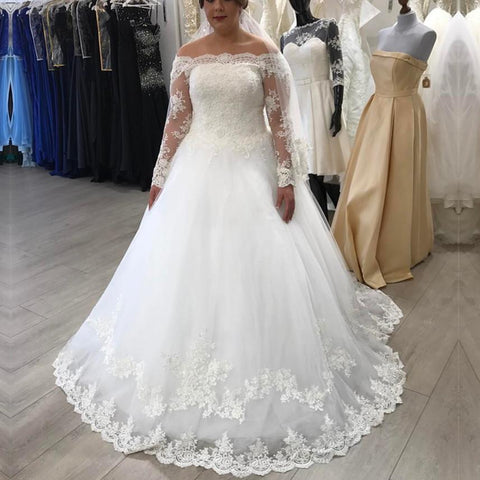 Image of A-line Off The Shoulder Long Sleeves Lace Wedding Dresses Plus Size