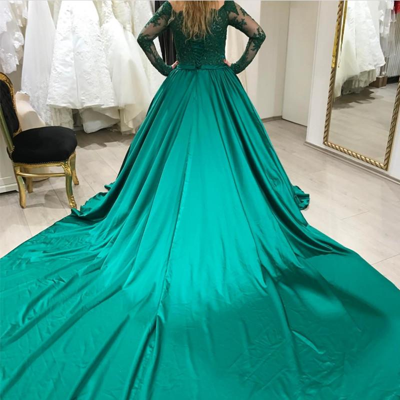 Green Lace Long Sleeves Satin Prom Dresses Ball Gowns