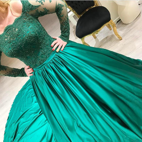 Image of Green Lace Long Sleeves Satin Prom Dresses Ball Gowns