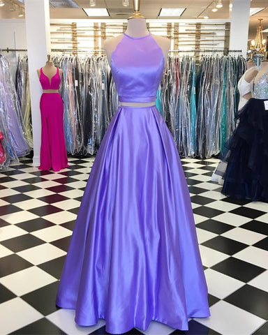 Image of Halter Neck Floor Length Two Piece Prom Dresses With Pocket