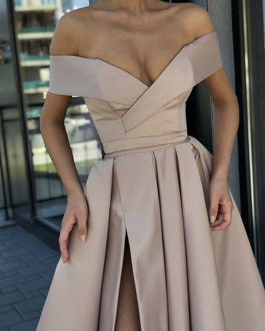 Image of Sexy Split Long Satin Off-The-Shoulder Prom Evening Dresses