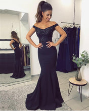 Cargar imagen en el visor de la galería, Mermaid V-neck Evening Dresses Lace Off Shoulder Prom Gowns
